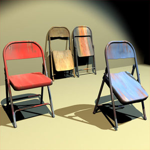folding chairs trashed 01 3ds