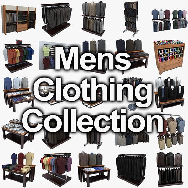 mens dress clothing displays 3d model