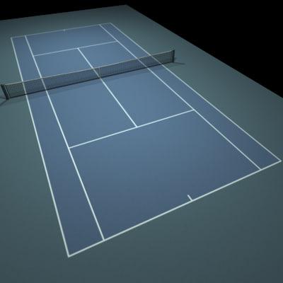 blue tennis hard court 3d model