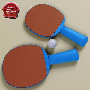 ping pong paddle ball 3d max