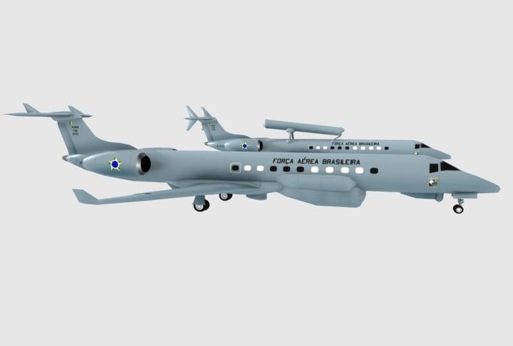 3d model embraer erj-145 r99a r99b