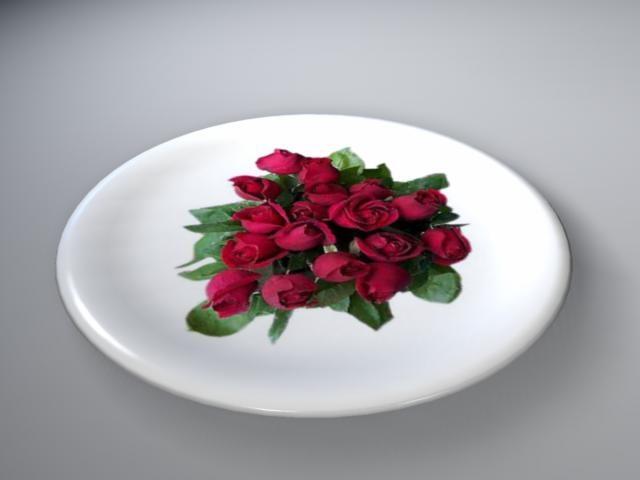 3d model rose dish