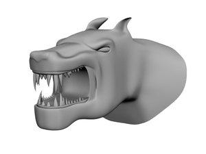 fantasy beast head 3d obj
