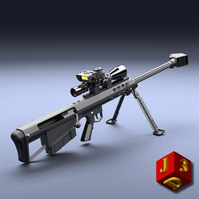 heavy sniper rifle barrett 3d obj