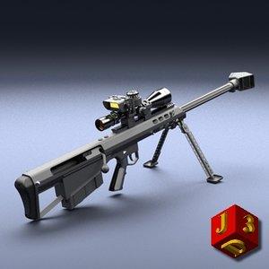 heavy sniper rifle barrett 3d obj