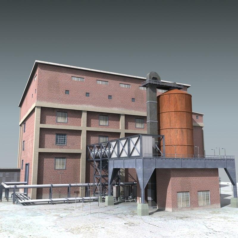 factory refinery 3d model