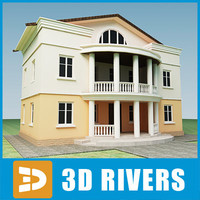 small town house building 3d obj