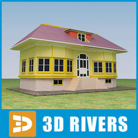 3d max small town house building