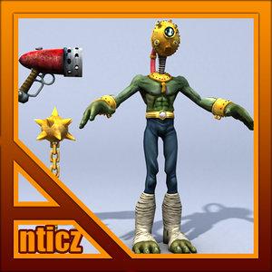 alien character ludo 3d model