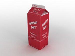 milk carton 3d model