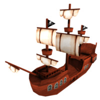 low-poly pirate ship x free