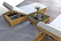 Outdoor Reclining Lounge Chair and Table Set
