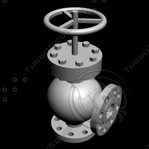 3d max angle valve flanged
