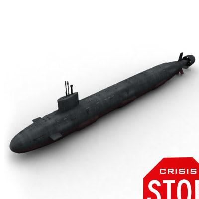 virginia submarine 3d max