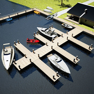 3d harbor small boat