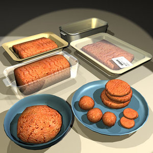 3d ground meat raw 01