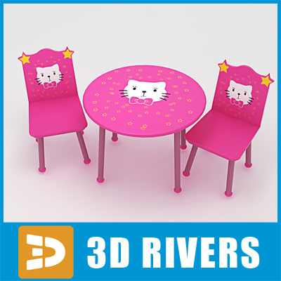3d kids table chairs model