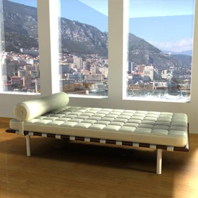 modern furniture mies van 3d model