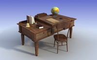old teacher desk 3dmodel 3d model