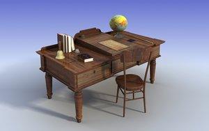 old teacher desk 3dmodel 3d model