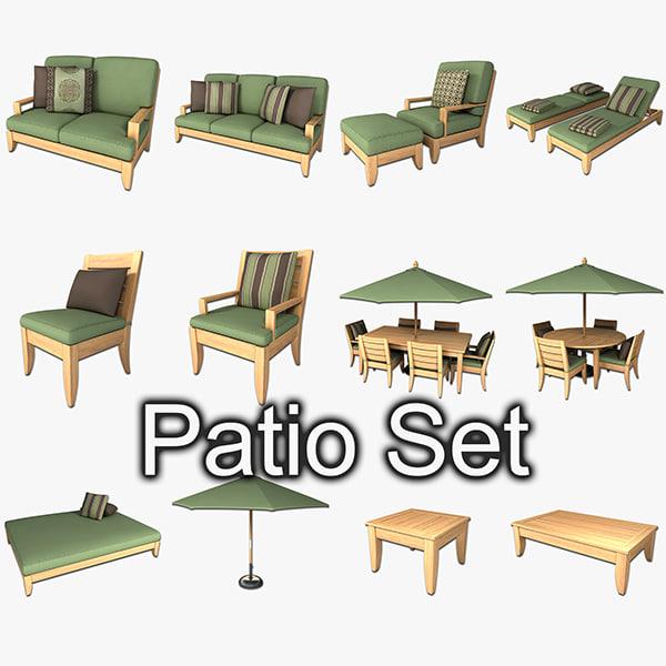 Patio furniture set 1 3d model for Outdoor furniture 3d model