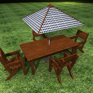 garden table set 3d 3ds