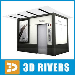 3d model street public toilet
