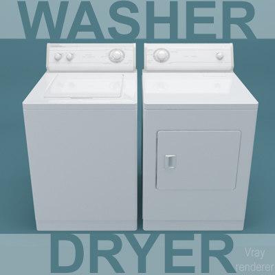 3d model washing machine dryer washer