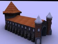 3d low-poly church