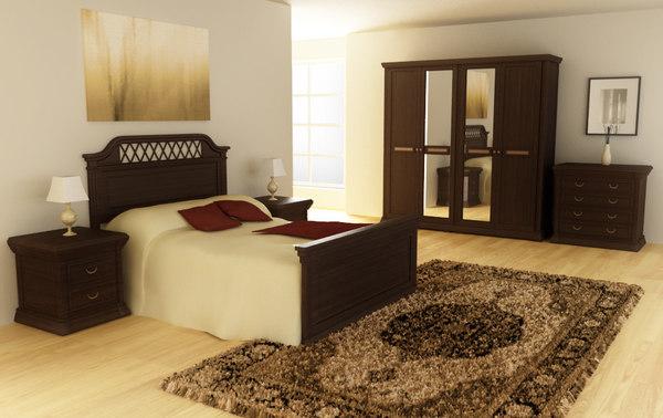 3d bedroom set 01 beds