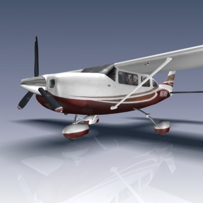 3ds max stationair 206 aircraft