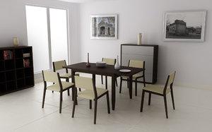dining room set 03 3d model