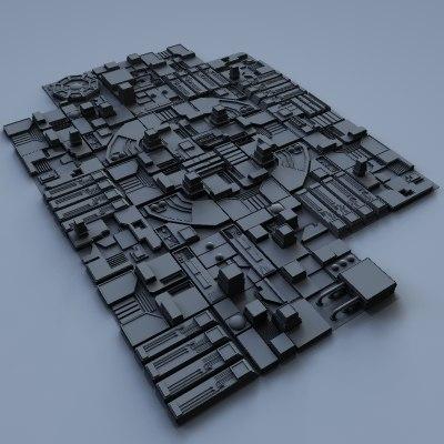 3d sci-fi city