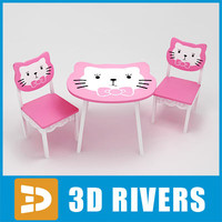 Kids table with chairs 02 by 3DRivers
