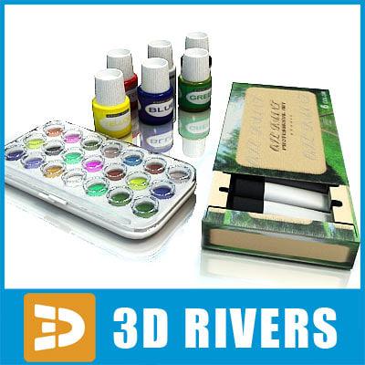 3d model set paints watercolour