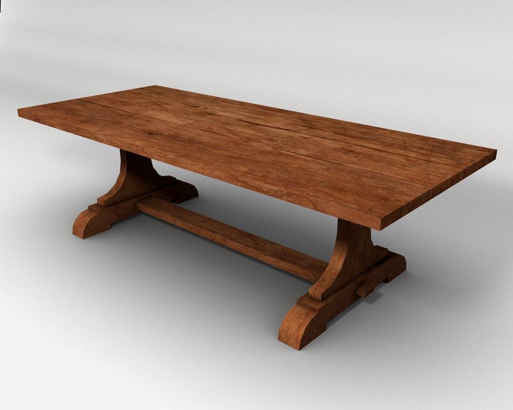 trestle table wood 3d 3ds
