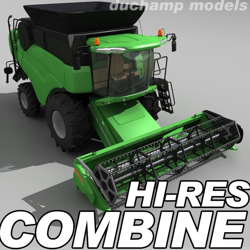 3d model of hi-res combine harvester