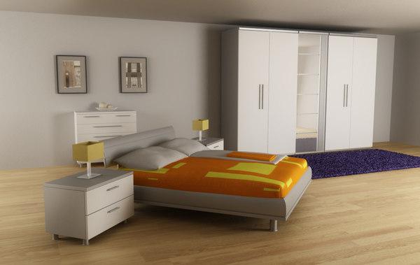bedroom set 02 beds 3d max