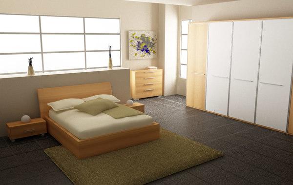 bedroom set 03 beds 3d max