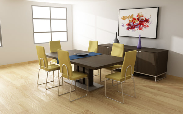 dining room set 01 3d model