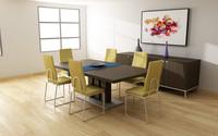 dining room set 01 3d model