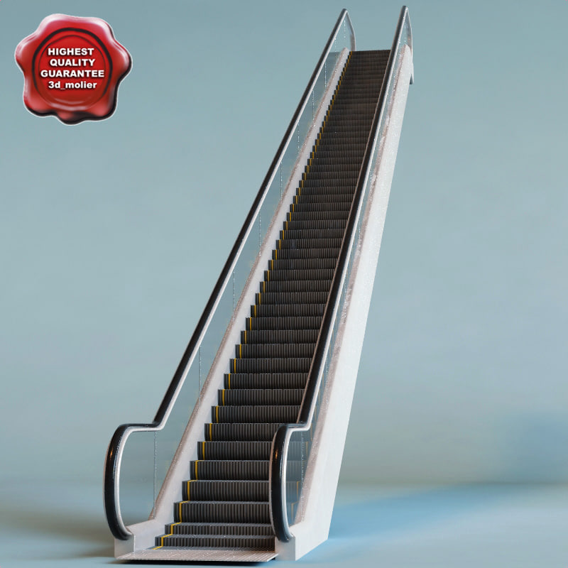 3d escalator interior modelled