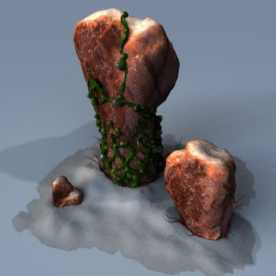 mossy alien rocks stones 3d 3ds