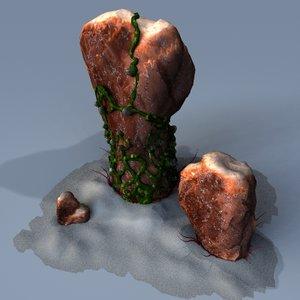 mossy alien rocks stones 3d 3ds