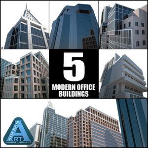 office buildings modern construction 3d model