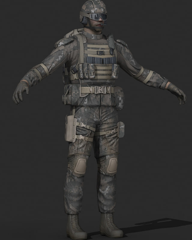 3d human military soldier model