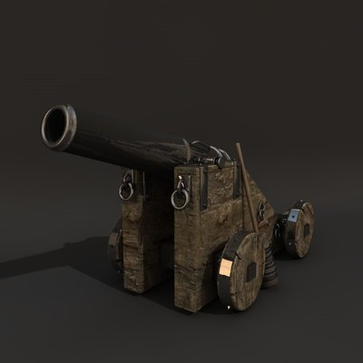 maya pirate ship cannon