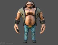 3d cyclops biker character