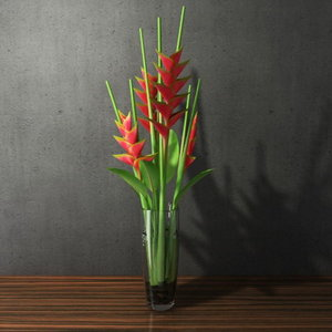 max flower heliconias glass vase