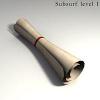 Rolled Parchment 3d Model